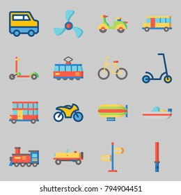 Icons set about Transportation. with scooter, stick and direction sing