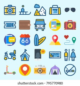 icons set about Travel. with can, location, train ticket, wallet, ticket and scooter
