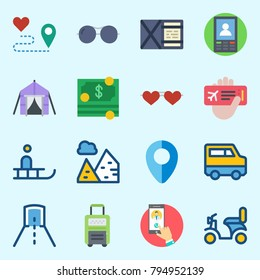icons set about Travel. with money, motorbike, pyramids, route, location and smartphone