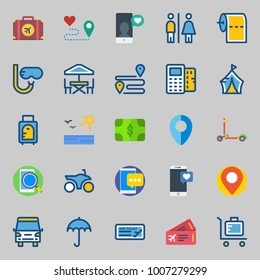 icons set about Travel. with motorbike, snorkel, terrace, toilet paper, location and smartphone