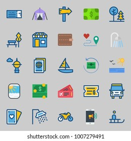 icons set about Travel. with motorbike, travel bus, passport, ticket, skyscraper and can