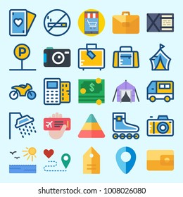 Icons set about Travel with motorbike, tent, location, sun, shower and plane ticket