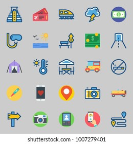 icons set about Travel. with panel, location, smartphone, tunnel, snorkel and park