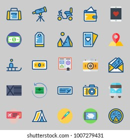 icons set about Travel. with plane ticket, wallet, poker, van, money and tent