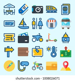 Icons set about Travel with scooter, motorbike, panel, shop, passport and thermometer