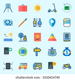 Icons set about Travel with smartphone, parthole, suitcase, tunnel, scooter and toilet