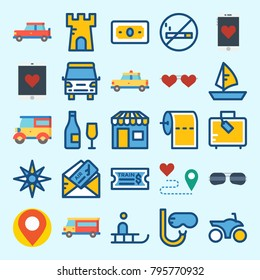 icons set about Travel. with smartphone, snorkel, van, location, sailboat and sunglasses