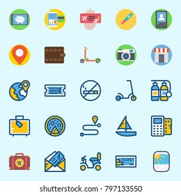 icons set about Travel. with ticket, point of service, parthole, thermometer, pizza and plane ticket