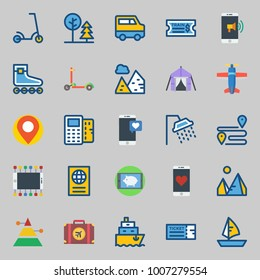 icons set about Travel. with train ticket, pyramid, park, sailboat, ticket and smartphone
