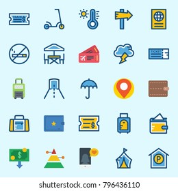 icons set about Travel. with tunnel, money, scooter, panel, wallet and suitcase