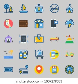icons set about Travel. with wallet, tent, location, purse, sun and plane ticket