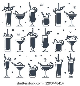 Icons set of alcohol cocktails different types. Suitable for advertising, bar menu decor, application design