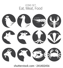 Icons Set : Animal, Meat, Seafood and Eating