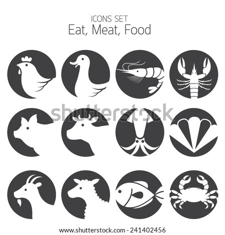 icons set animal meat seafood eating stock vector royalty free 241402456 shutterstock