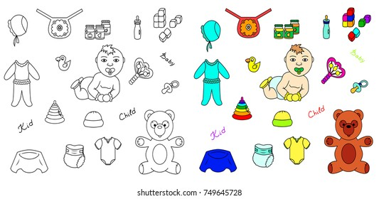 Icons set of baby including sketch