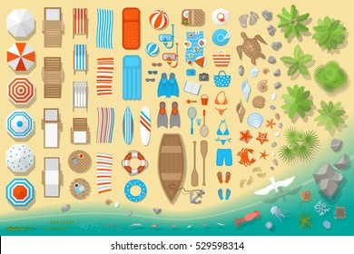 Icons set. Beach elements and objects. (top view) Isolated Vector Illustration. Beach, umbrellas, sunbeds, chairs, games, clothing, shells, fish, animals, palm trees. (view from above).