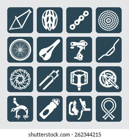 Icons set of bicycle parts and accessories. Vector illustration.