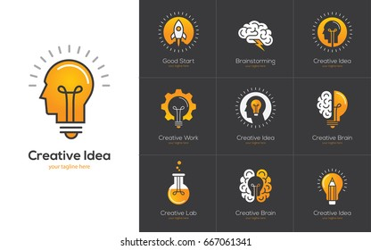 Icons set with brain, light bulb, human head. Creative idea, mind, nonstandard thinking logo. Isolated on black background