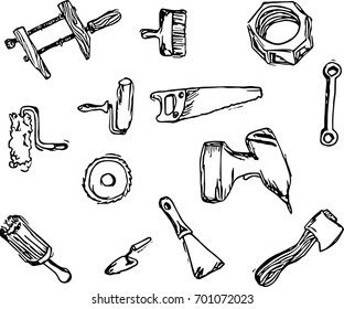 Icons set of building tools in vector doodle technic.