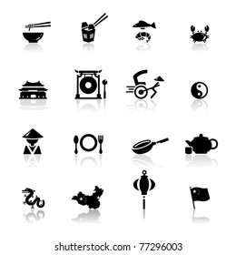 Icons set Chinese Cuisine and culture