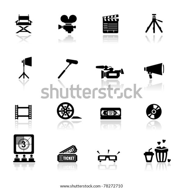 Icons set Cinema and movies
