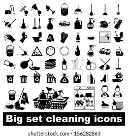 Icons set Cleaning. Vector illustration  on white background