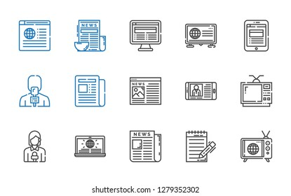 icons set. Collection of news with tv, journalist, newspaper, news reporter, television, news report. Editable and scalable news icons.