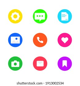 Icons Set with colour Bookmark, Message, Files, Image, Like, Camera, Bookmark