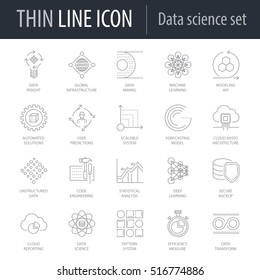 Icons Set of Data Science. Symbol of Intelligent Thin Line Image Pack. Stroke Pictogram Graphic for Web Design. Quality Outline Vector Symbol Concept Collection. Premium Mono Linear