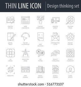 Icons Set of Design Thinking. Symbol of Intelligent Thin Line Image Pack. Stroke Pictogram Graphic for Web Design. Quality Outline Vector Symbol Concept Collection. Premium Mono Linear