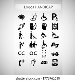 icons set of differents disability