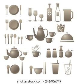Icons Set : Dinner Restaurant and Eating