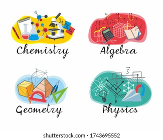 Icons set of educational disciplines. Chemistry, Algebra, Geometry, Physics for school