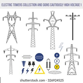 Icons set with electric towers isolated on white background. Signs cautiously high voltage.