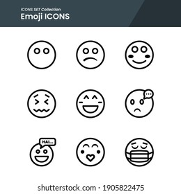icons set of emoji mask, toxic, love and many more with outline vector style. perfect use for web pattern design etc.