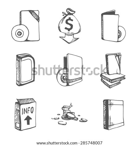 Icons Set Empty Books CD Boxes Stock Vector (Royalty Free
