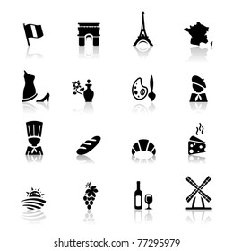 Icons set French Cuisine and culture