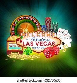 Icons set of gambling in Las Vegas. Composition of casino elements on a blue green background.