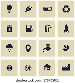 Icons set for green technology. Green world. Ecology theme.  Icons for your design. Vector