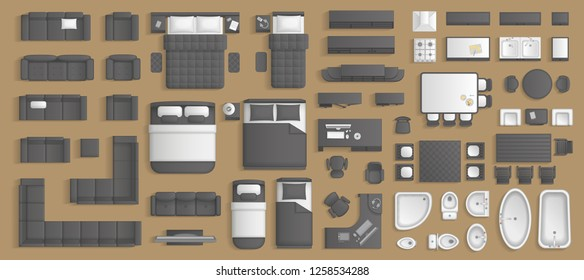 Bedroom Furniture Plan Images Stock Photos Vectors