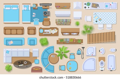 Icons Set Of Interior Top View Isolated Vector Illustration Furniture And Elements