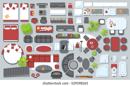 Icons set of interior (top view). Isolated Vector Illustration. Furniture and elements for living room, bedroom, kitchen, bathroom. Floor plan (view from above). Furniture store.