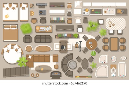 Icons set of interior, top view. Isolated Vector Illustration. Furniture and elements for living room, bedroom, kitchen, bathroom. Floor plan, view from above. Furniture store.