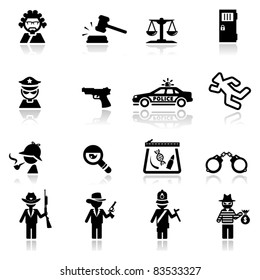 Icons set Justice and law