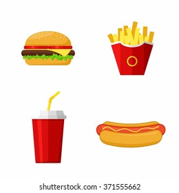 Icons set lunch with Hamburger, Hot Dog,  French Fries and Soda. Group of Fast Food products. Flat design. Vector Illustration