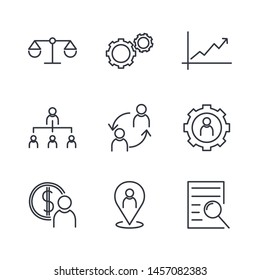 Icons Set of Management Related Vector Simple. Line .Qualification, Head Hunting and more. Startup strategy and Employees linear icons. Business strategy, Startup and Teamwork symbols.