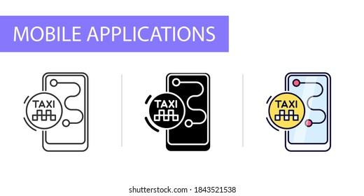 icons set, mobile application icon, taxi call