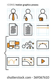 Icons set of motion graphics process. Line art pictograms.