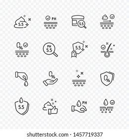 Icons set of no artificial, alcohol free, neutral ph signs. Vector certified, tested products for skin, hair. Healthcare cosmetic cream icons.