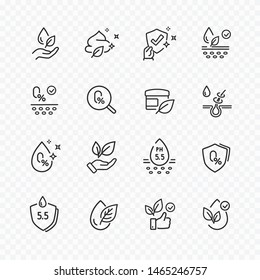 Icons set of no artificial, alcohol free, neutral ph signs. Vector certified, tested organic products for skin, hair. Healthcare cosmetic cream icons.